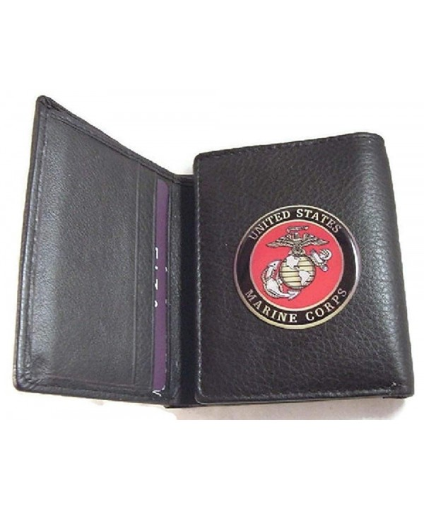 MARINE CORPS GRAIN BLACK WALLET