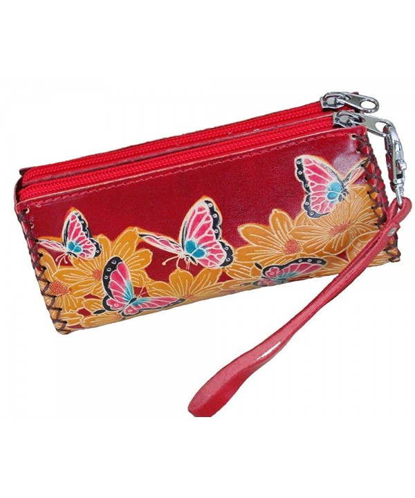 Wristlet wallet Zipper Separate Rooms