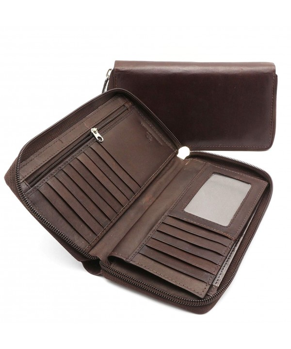 Bifold Leather Checkbook Holder Detachable
