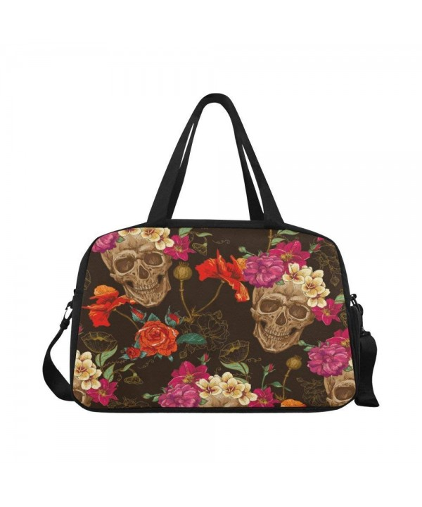 InterestPrint Travel Duffel Compartment Flowers