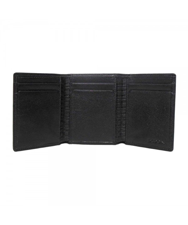 Boconi Grant Trifold Black Leather
