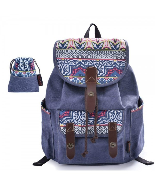 C LEATHERS Canvas Backpack Daypack 137Blue