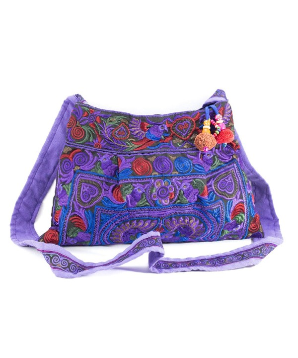 Changnoi Purple Handmade Handbags Embroidered