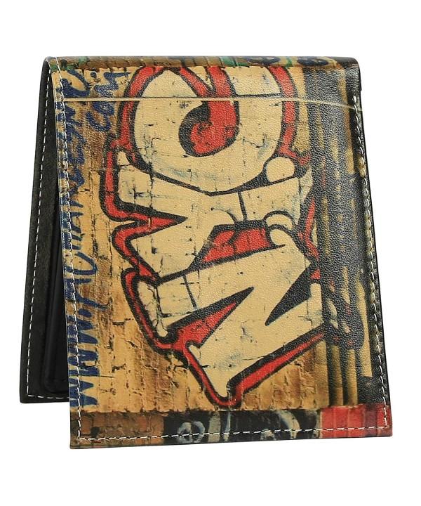 Wallet Men Genuine Printed Graffiti