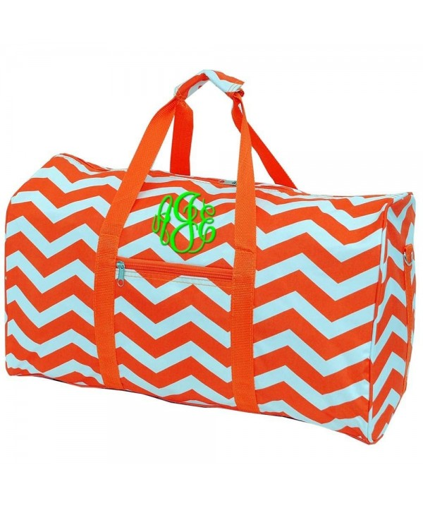 Personalized Orange Chevron Duffle Monogrammed