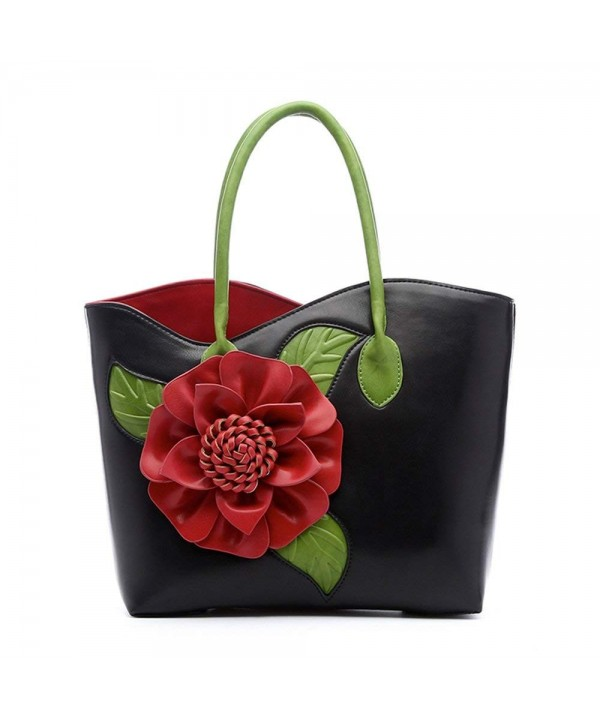 Women Handbag Flower Leather Vanillachocolate