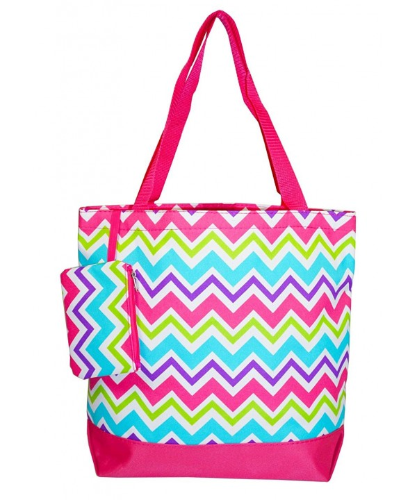 Ever Moda Multi color Chevron Tote