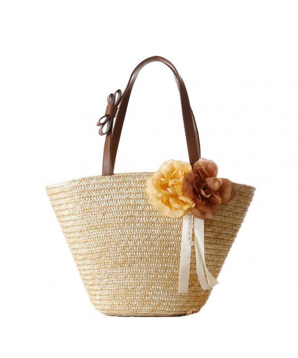 Donalworld Women Straw Shoulder Flower