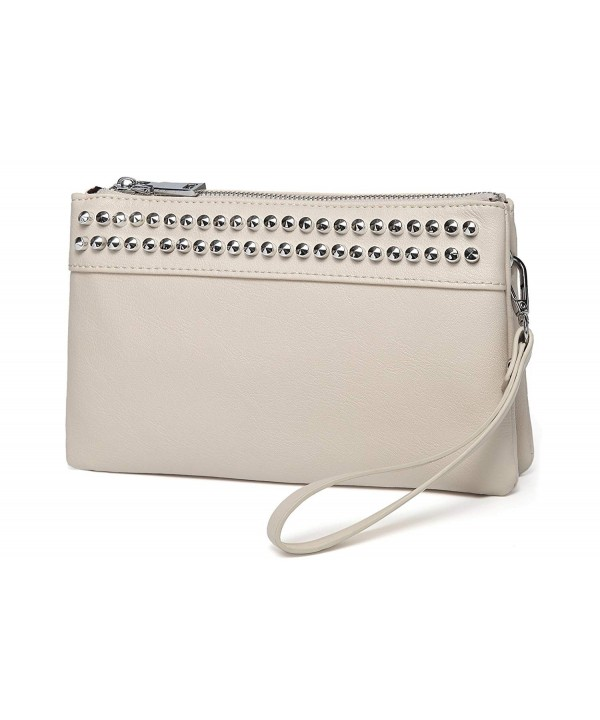 Wristlet VASCHY Leather Crossbody Evening