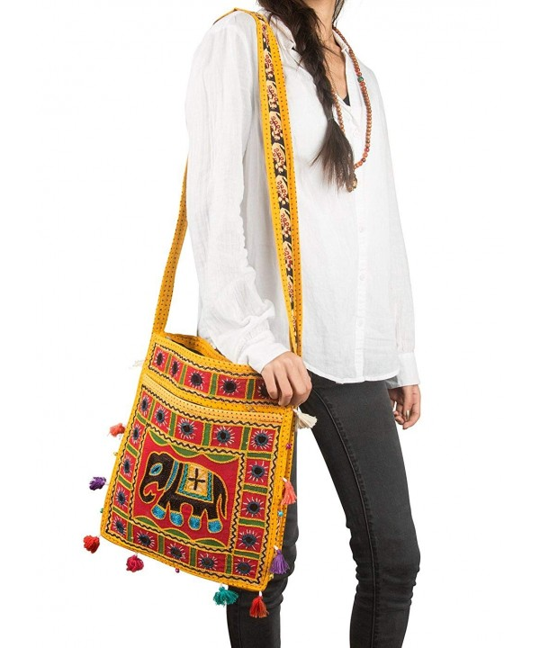 Tribe Azure Elephant Messenger Embroidered