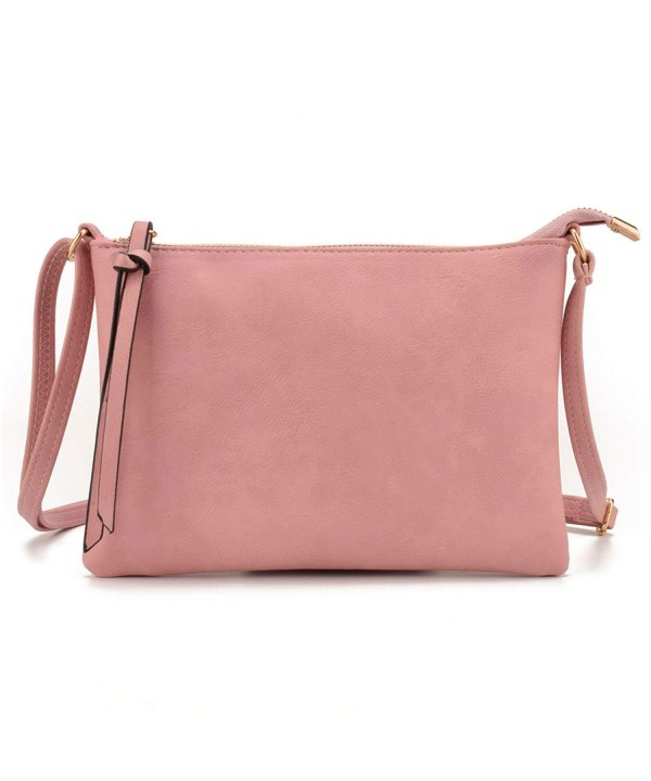 34b1c9a55d3 Slim Lightweight PU Leather Small Women Crossbody bag Purses Envelope  Handbag - Pink - CU18GUHK7Q5