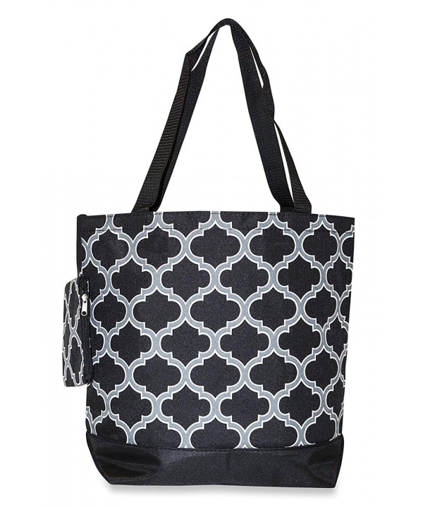Ever Moda Quatrefoil Tote Black