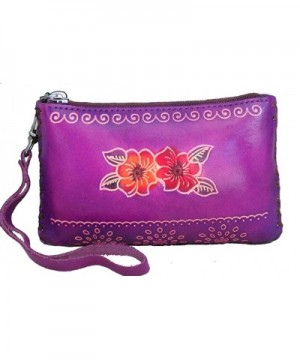 Leather Change Rectangle Wristlet Embossed