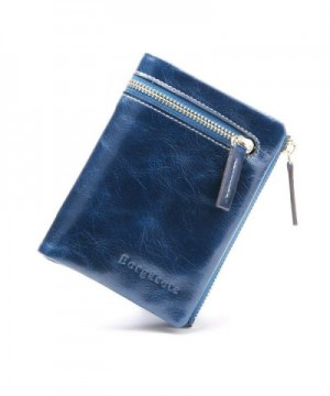 Borgasets Womens Leather Zipper Wallet
