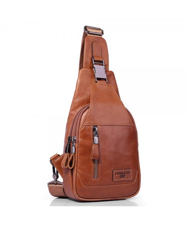 Sling Yellow Leather Chest Backpack
