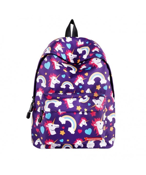 SWYIVY Rainbow Printing Backpack Women Purple