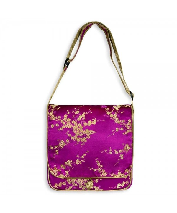 Messenger Bag Large Brocade Fuchsia