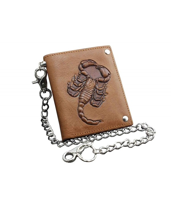 Scorpion Trucker Leather Wallet Chains