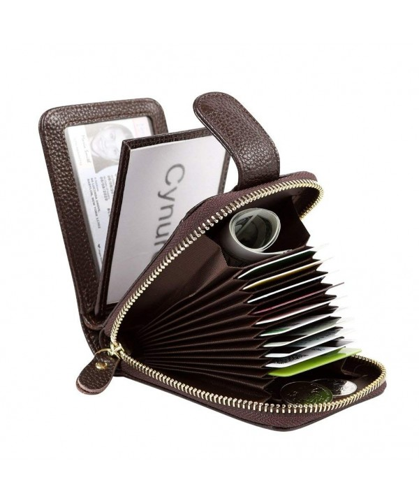 Womens Leather Holder Compact Accordion
