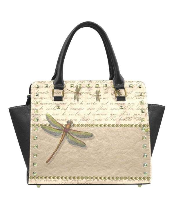 InterestPrint Dragonfly leather Shoulder Handbag