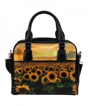 InterestPrint Sunflower Flower Leather Shoulder