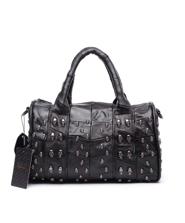 Lambskin Handbag Studded Shoulder Satchel