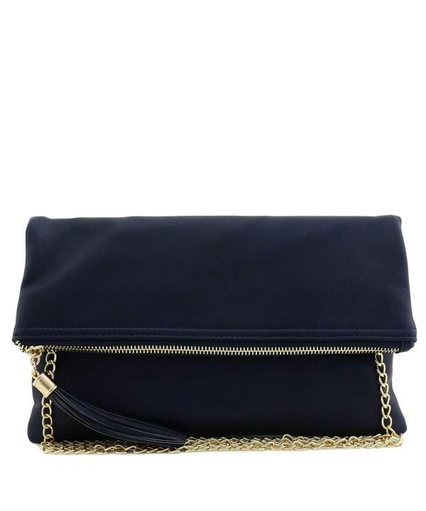 Tassel Accent Flapover Clutch Purse
