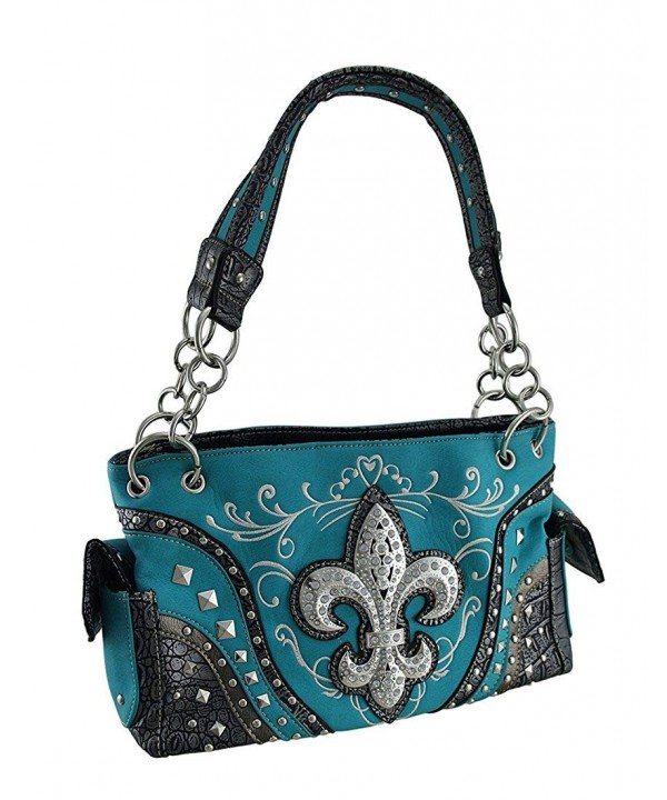 Shoulder Handbags Rhinestone Embroidered Concealed