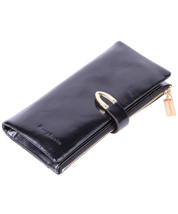 Borgasets Womens Wallet 100 leather Zipper