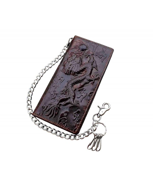 Vintage Trucker Leather Wallet Dragon