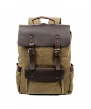 Travel Backpack Genuine Canvas Leather