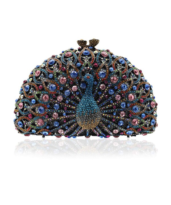 Luxury Crystal Clutches Peacock Evening