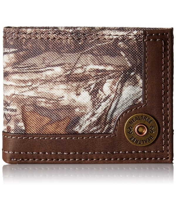 RealTree Mens Passcase Wallet Brown