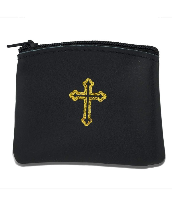 Genuine Leather Catholic Rosary Black
