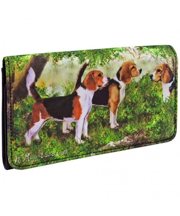 Beagles Standing Forest Checkbook Wallet