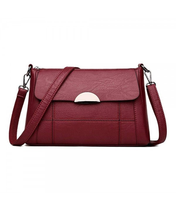 e1cb8ba92b33 Women Crossbody Bag Leather Purse Handbag Small Satchel Hobo Shoulder Bag -  Red - C31896L57KQ