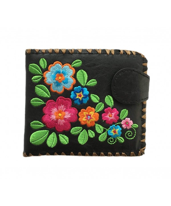 Garden Flower Leather Medium Embroidered
