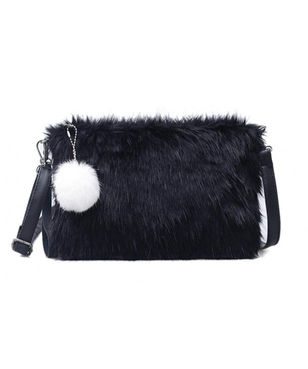 4c8a22281e4a Women Faux Fur Black Envelope Clutch Fluffy Crossbody Shoulder Bag ...