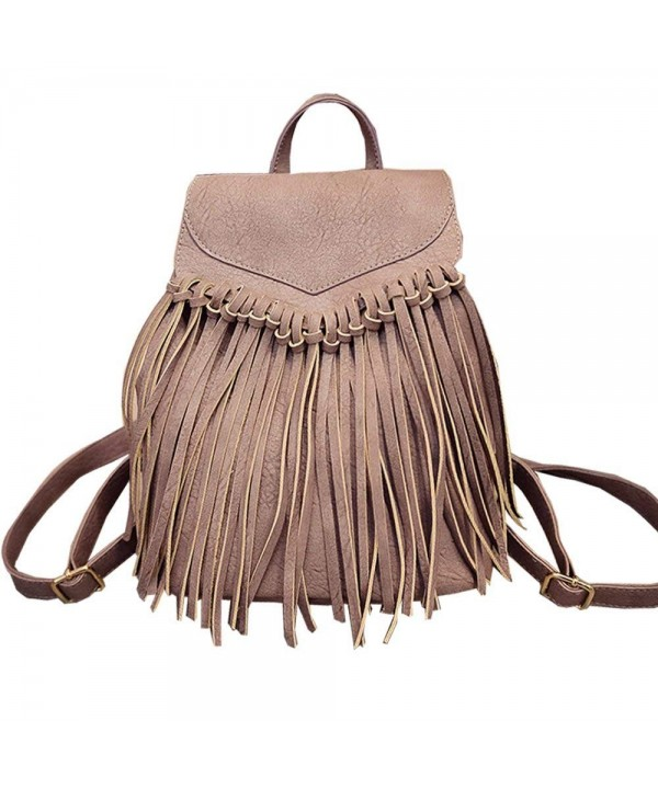 Tassel Leather Backpack Vintage Daypack