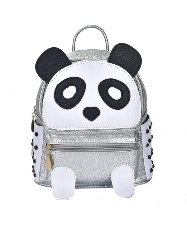 Fashion Leather Casual Backpack Silver