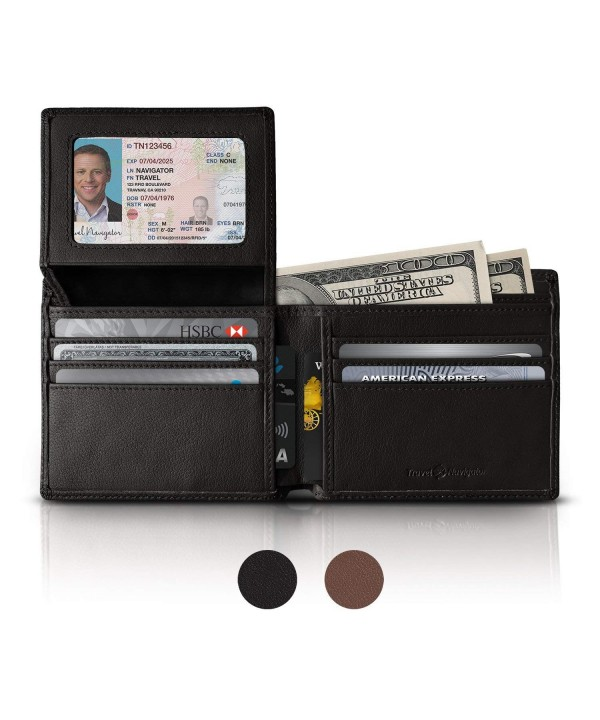 RFID Blocking Leather Wallets Black