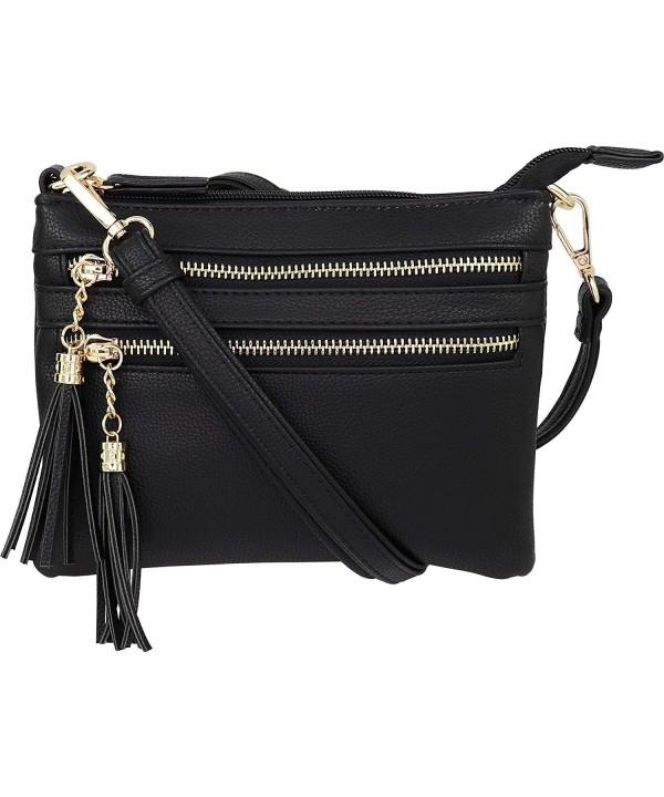 Multi Zipper Crossbody Handbag Tassel Accents