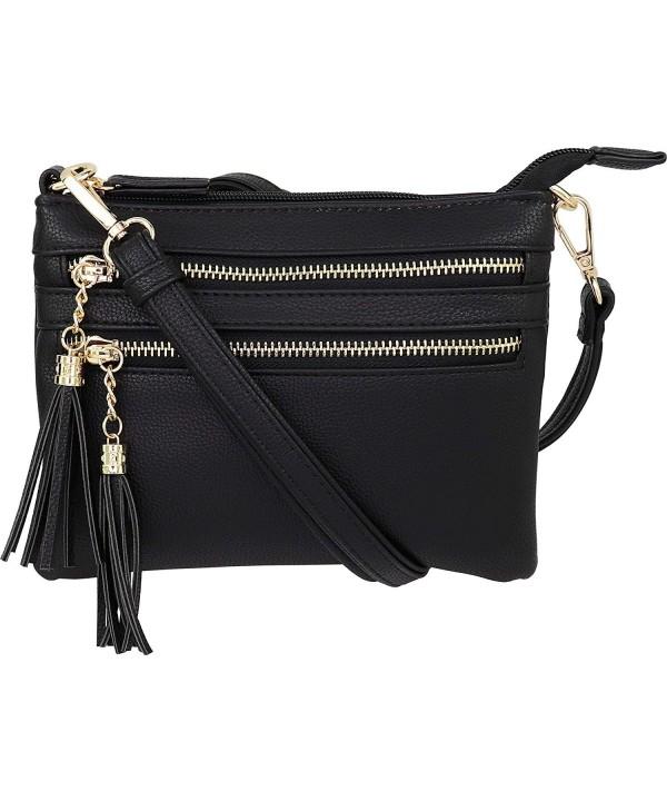 Multi Zipper Crossbody Handbag Tassel Accents