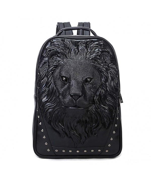 Studded Backpack Leather Bookbag Lion Black