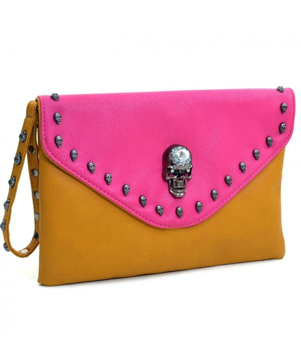 Dasein Skull Adorned Envelope Clutch