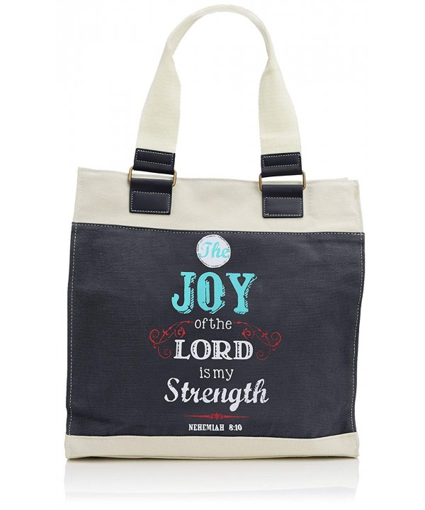 Retro Blessings Navy Canvas Tote