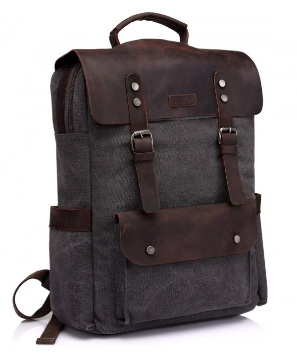 Vaschy Leather Backpack Rucksack Compartment