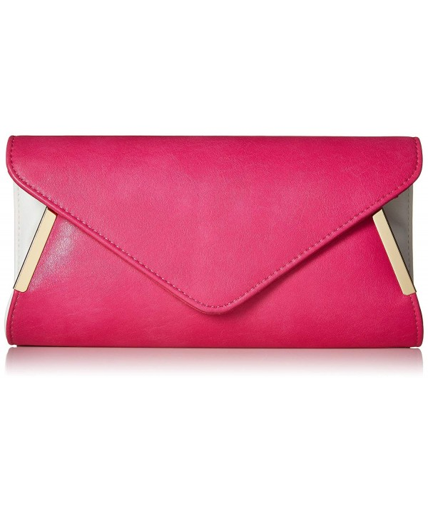 Womens Leather Accent Envelope Clutch