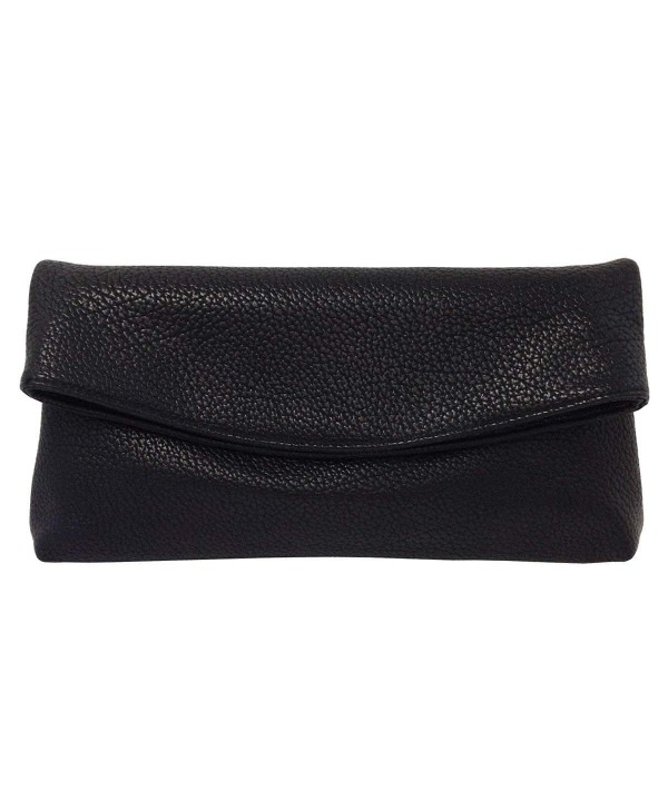 Leather Oversize Foldover Clutch Black