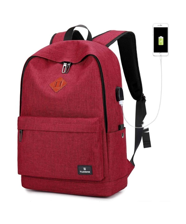 Canvas College Backpack Bookbag Charging